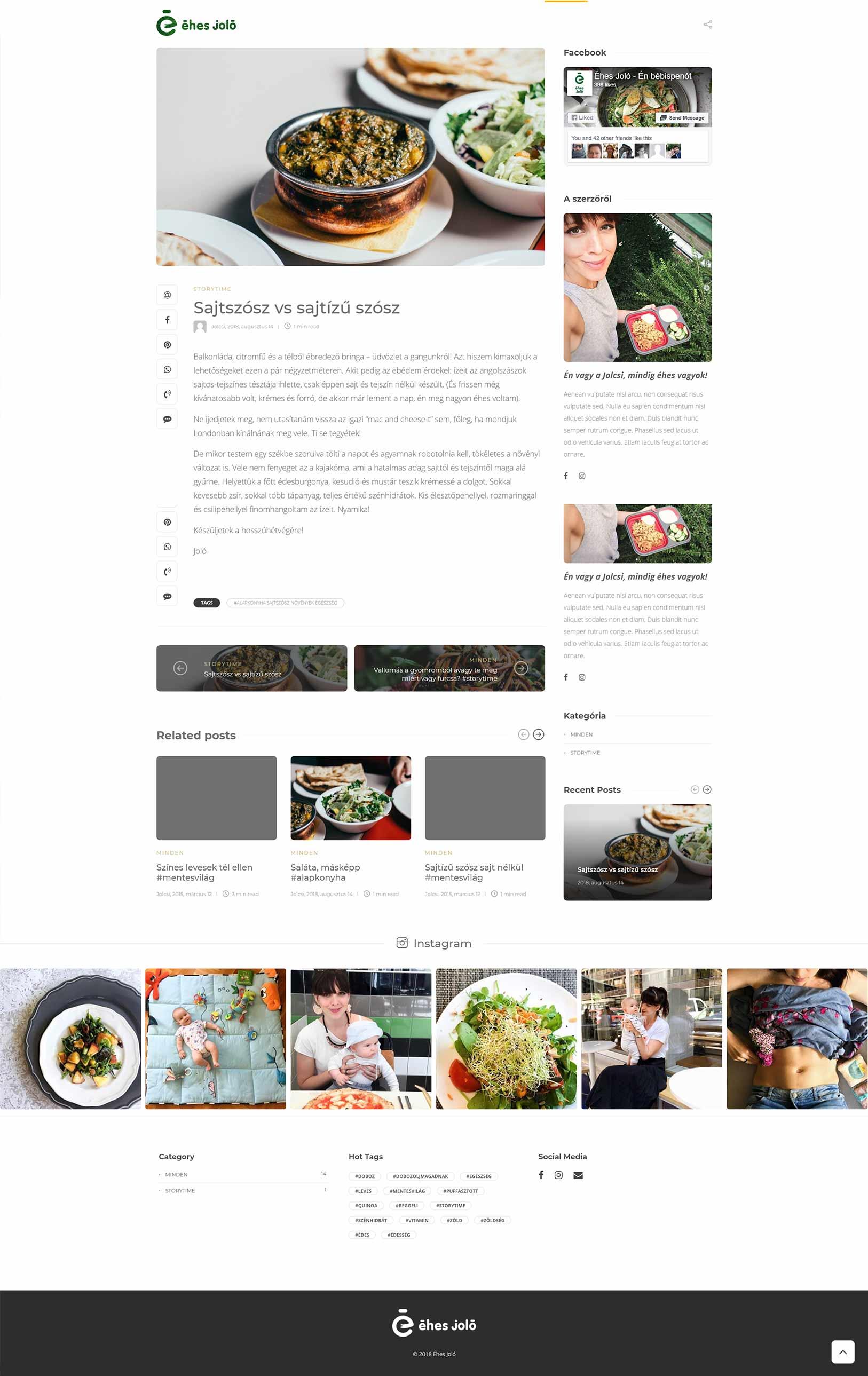 Éhes Joló blogger  vlogger weboldal készítés